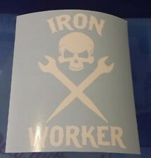 IRON WORKER SKULL w/ TOOLS Vinyl Sticker Decal- ROUGHNECK DECAL FOR WINDOW