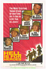 HELL IS FOR HEROES MOVIE POSTER Original LB 27x41 STEVE MCQUEEN WWII Film 1962