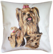 Yorkshire Terrier Yorkie Group Dog Cotton Cushion Cover - Perfect Gift
