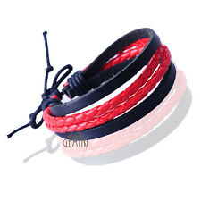 Unisex Men Women Black Genuine Leather Braided Wristband Bracelets GM093UK