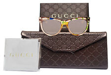 Gucci GG3739 2FX Beige Flora Gold Gray Rose Gradient 55mm Lens Sunglasses New