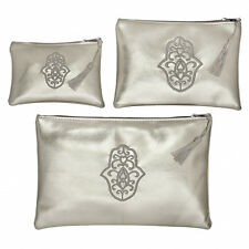 Moroccan Set of 3 Cosmetic Bag Pouch Khamsa Hand Fatima Lucky Hand in Silver