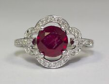 14k White Gold Round African Red Ruby And Round White Diamonds Ring Size 6.5