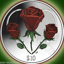 2015 HEART OF ROSES Sterling SILVER Proof $10 Color Coin BRITISH VIRGIN ISLANDS