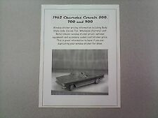1962 Chevrolet CORVAIR cost/dealer retail sticker pricing for car + options 62 $