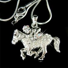 w Swarovski Crystal Jockey race HORSE riding Rider ~EQUESTRIAN~ Jewelry Necklace