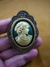 (cm23-30) CALM face WOMAN green CAMEO brass Pin Pendant Jewelry NECKLACE Nice