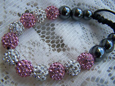 PINK  &  WHITE  ~ DISCO_BALL ~ BRACELET  ~~ (GREAT_CHRISTMAS_GIFT)