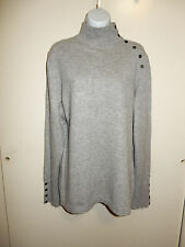 CHARTER CLUB 100% CASHMERE 2-PLY GRAY MOCK NECK FALSE BUTTONS CLOSURE SWEATER XL