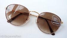 Sonnenbrille Panto Metall gold braun klassisch leicht Damen Herren 100% UV  NEU