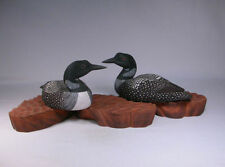 "8-3/4"" Common Loon Pair Wooden Hand Carved Bird/Birdhug"