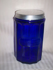 VINTAGE LOOK COBALT BLUE GLASS COFFEE JAR /  BEAUTIFUL  KERIQUE CUP STORAGE
