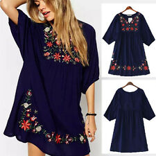 Blue Women Ethnic Mexican Flower Embroidered V-Neck Loose Boho Gypsy Mini Dress