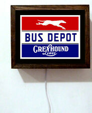 Greyhound Bus Depot Travel Lines Driver Retro Vintage Look Light Lighted Sign