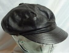 "leather biker motorcycle hat cap brando cabbie newsboy vintage 20"" black"
