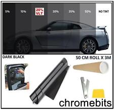 CAR OFFICE TINTING WINDOW TINT FILM KIT DARK BLACK 20% 50 X 300CM