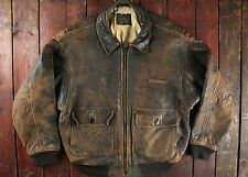 VTG AVIREX US NAVY TYPE G-1 LEATHER FLIGHT BOMBER JACKET LARGE