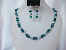Peacock Blue Crystal and Pale Teal Pearl Bead Necklace and Earrings