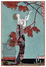 Georges Barbier Fashion Illustration 1914 print art poster 10.25x14.5 bird cages