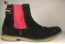 Elle Homme - Men's Black and Red Suede Leather Ankle Boots US 8 EU 41 Rare!