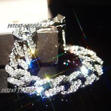 18K White Gold Filled Iced Out Miami Chain Micropave Lab CZ BRACELET FB1165