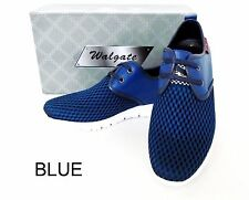 Men's WALGATE Black Blue leather lining athletic sports walking gym shoes 9522