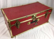 Vintage Travel Chest Antique Steamer Trunk Foot Locker W KEY, RED and Gold trim