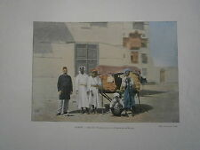 gravure 19° couleur Arabie Séoudite Palanquin pour les pélérins de la Mecque