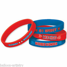 4 Marvel Ultimate Spider-Man Birthday Party Favour Gifts Loot Rubber Bracelets