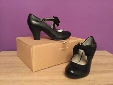 Women's U.K Size 5 Black Leather Hush Puppies Lolita Bow Mary Jane Shoes. Heel.