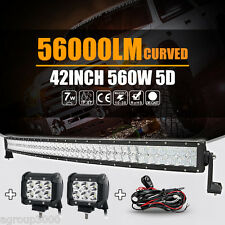 "5D Cree 560W 42inch Curved 40inch + 2x 4"" 18W LED Light Bar Spot Offroad 4WD Car"