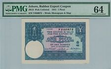 RUBBER COUPON 1941 JOHORE 1 PICUL PMG64 CHOICE UNC