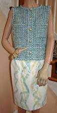 Chic CHANEL NWT 12P Spring 2012 $13K Green Tweed Leather Dress Size 40