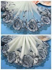 """9""""*1Y Embroidered Tulle Lace Trim~Icy Green+Black+Celadon~Flowering Season~"""