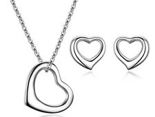 Open Heart 925 Sterling Silver Pendant Chain Necklace And Stud Earrings -One Set
