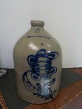 W Roberts Binghamton NY Cobalt Blue Flower Stoneware Jug 2 Gallon Bright Colors