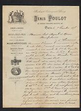 """PARIS (XI°) USINE D'OUTILLAGE pour POLISSAGE / MEULE """"Denis POULOT"""" en 1887"""