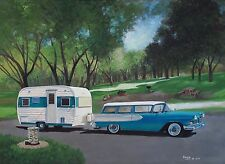 Vintage 1958 Edsel Station Wagon 1965 Aloha Travel Trailer Camper RV ART PRINT
