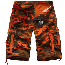 Mens Casual Army Cargo Combat Camo Camouflage Shorts Sports Pants Overall