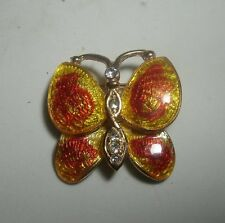 Vintage Orange and Yellow Guilloche Enamel Rhinestone Butterfly Brooch Pin