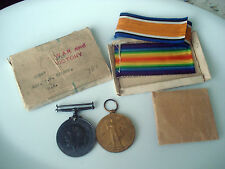 Original WWI Victory & War Medals with original boxes and Ribbons