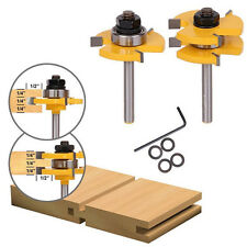 "2pcs Tongue & Groove Router Bit Set 3/4"" Stock 1/4"" Shank For Woodworking Tool"