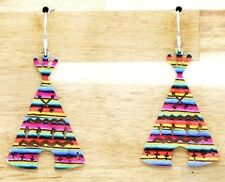 Serape Mint Pink TP Wigwam Tent Cross Arrow Cutouts Wire Dangle Silver Earrings