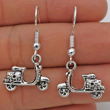 925 Silver Plated Hook - 1.4'' Vintage Motorcycle Style Women Party Earrings #17