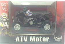 ATV Motor Quad Bike Toy Grey Black Alpha Speed Scale 1:24 Ages 3+ Pull Back Acti