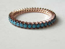 Rose Gold Plated Over 925 Sterling Silver Turkish Turquoise 1 Row Ring Size 5