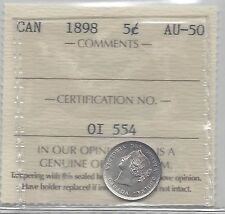 **1898**, ICCS Graded Canadian,  Small Silver 5  Cent, **AU-50**