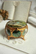 CHARMING FRENCH ANTIQUE TRINKET JEWELRY GLASS BRASS BOX  19thC LOURDES BASILIQUE