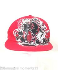 DISNEY PARKS GRAPHIC EDGE MICKEY MOUSE BASEBALL CAP  HAT RED BLACK WHITE