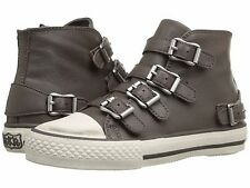 NIB ASH Sz5US KIDS GIRL VAVA LEATHER HIGH TOP BUCLE-UP SNEAKERS ELEPHANT GRAY$95